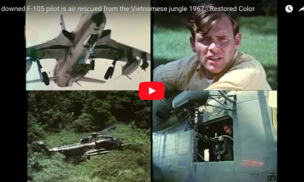 A downed F-105 pilot is air rescued from the Vietnamese jungle 1967 – Restored Color