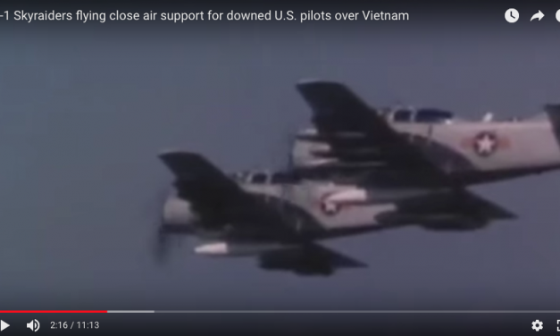 A-1 Skyraiders flying close air support for downed U.S. pilots over Vietnam